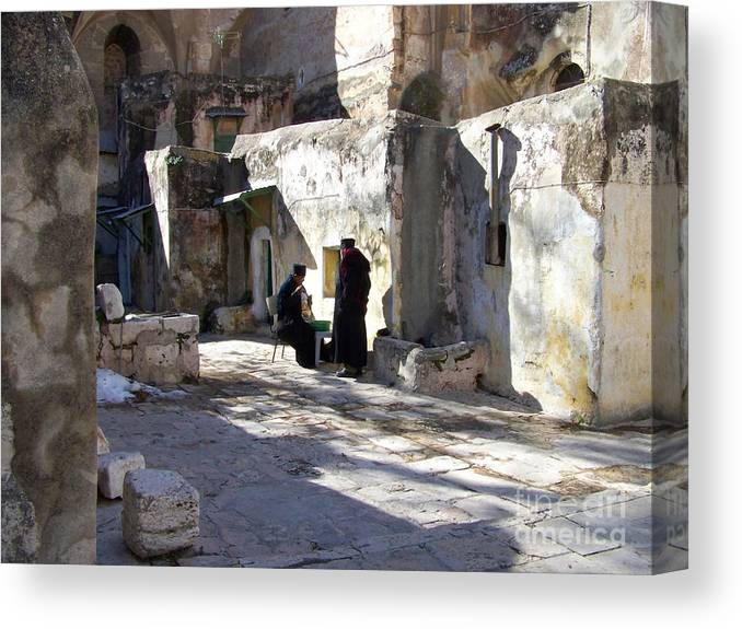 Jerusalem Canvas Print featuring the photograph Morning Conversation by Kathy McClure