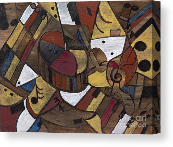 Brown Canvas Print featuring the painting Musicality in Brown by Nadine Rippelmeyer