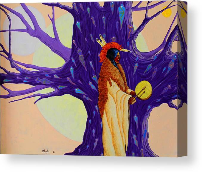 Mystic Canvas Print featuring the painting Mystic Powers of The Medicine Man by Joe Triano
