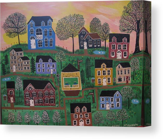 Landscape Canvas Print featuring the painting Olenalanthe Park- The Dream of Days to Come by Mike Filippello