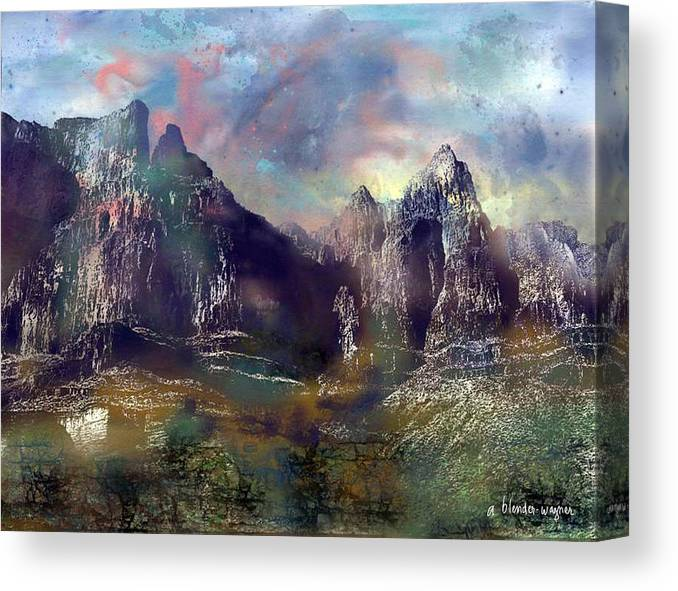 Mountains Canvas Print featuring the digital art Ominous Sky by Arline Wagner