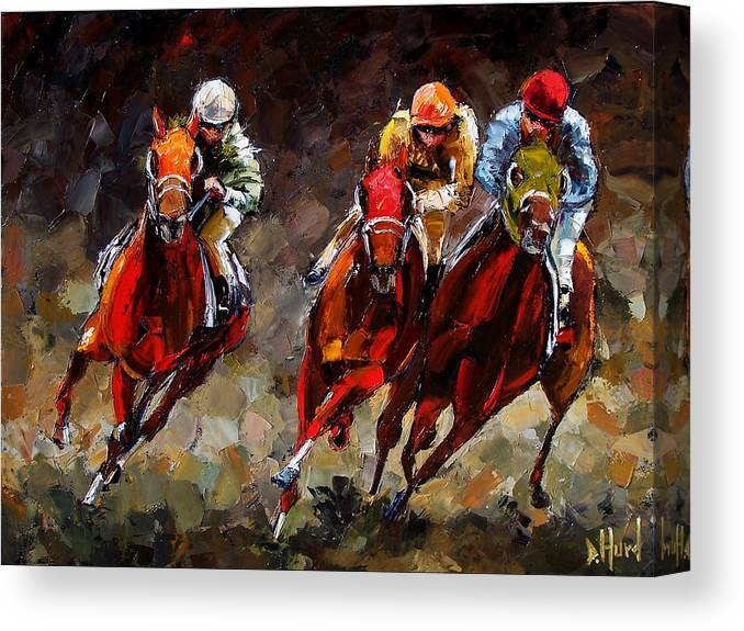 Horse Race Canvas Print featuring the painting Opening Day by Debra Hurd