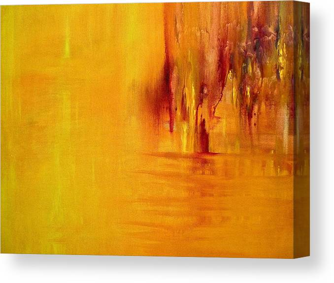 Acrylic Abstract Canvas Print featuring the painting Orange by Claire Bull