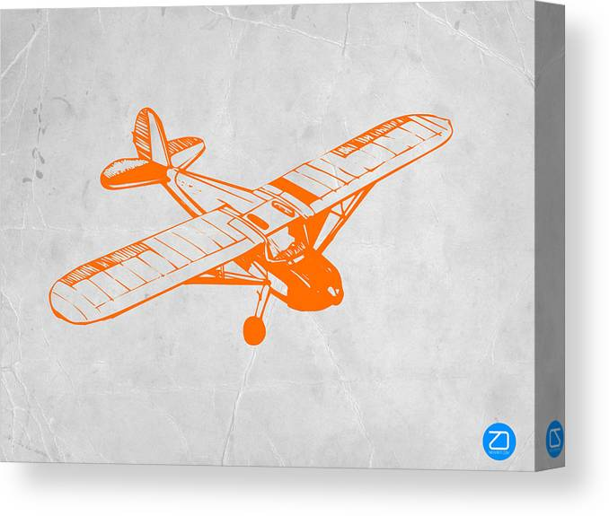 Plane Canvas Print featuring the painting Orange Plane 2 by Naxart Studio