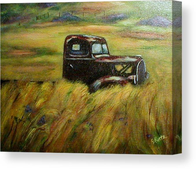Vintage Truck Canvas Print featuring the painting Out To Pasture by Gail Kirtz