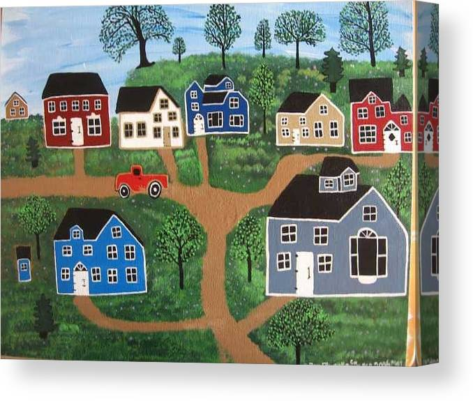Folk Art Canvas Print featuring the painting Passing Through Latavnia Willow by Mike Filippello