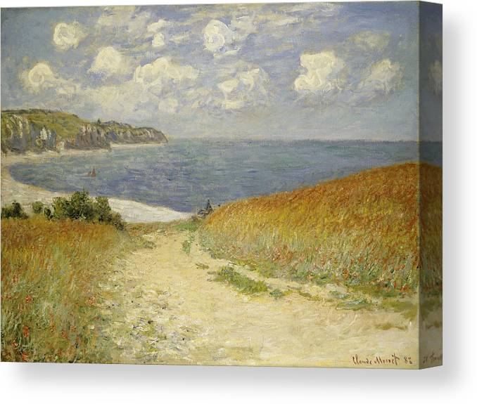 Path In The Wheat At Pourville Canvas Print featuring the painting Path in the Wheat at Pourville by Claude Monet