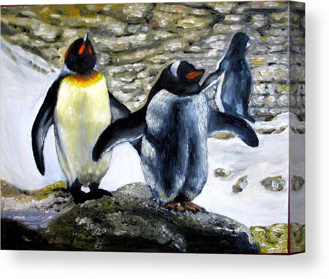 Oil On Canvas Canvas Print featuring the painting Penguines original oil painting by Natalja Picugina