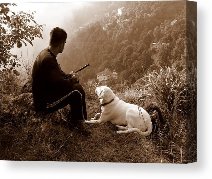 Dog Canvas Print featuring the photograph Piton and Bruno by Padamvir Singh