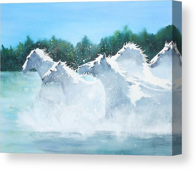 Horse Canvas Print featuring the painting Splash 2 by Ally Benbrook
