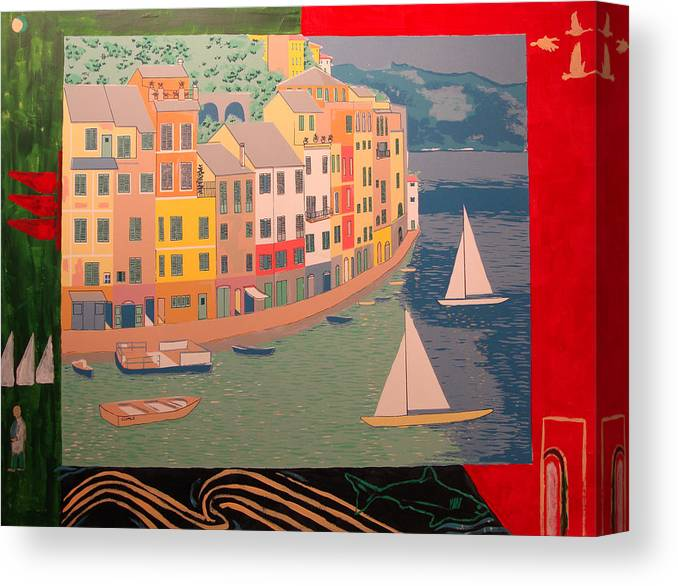Canvas Print featuring the painting Portofino with birds by Biagio Civale
