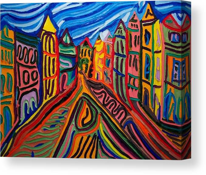 Canvas Print featuring the painting Prague at Noon by Ira Stark