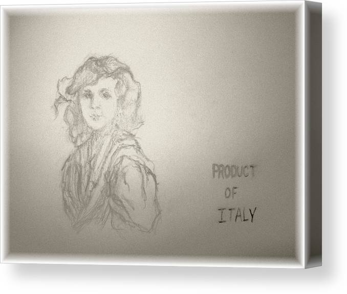 Italian Little Girl Canvas Print featuring the drawing Product of Italy by Nancy Caccioppo