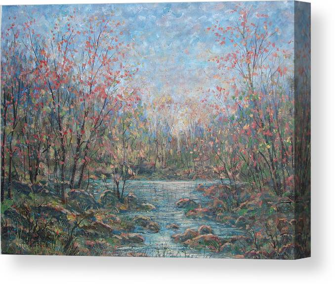Landscape Canvas Print featuring the painting Quiet Evening. by Leonard Holland