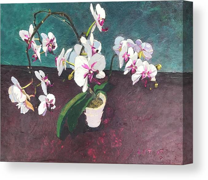 Recycled Canvas Print featuring the mixed media Reaching by Leah Tomaino