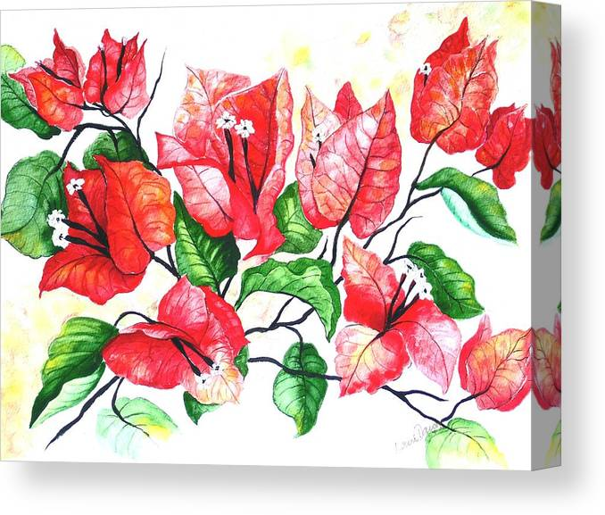 Red Flower Canvas Print featuring the painting Red Bouganvillia by Karin Dawn Kelshall- Best