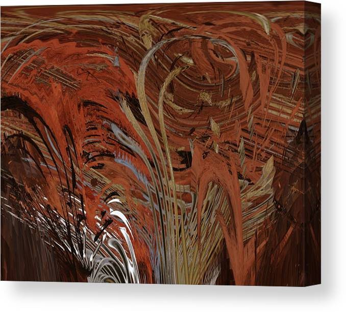 Red Canvas Print featuring the digital art Red Clay Swirl 2 by Beverly Kimble Davis