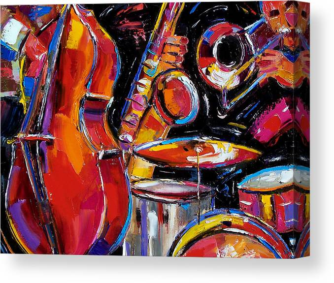 Jazz Canvas Print featuring the painting Red Jazz by Debra Hurd