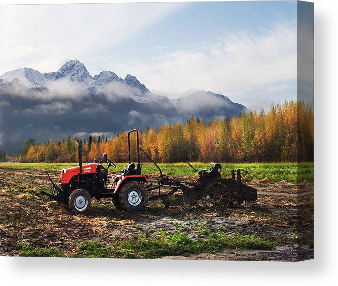 Photography Canvas Print featuring the photograph Red Tractor in Autumn by Dianne Roberson