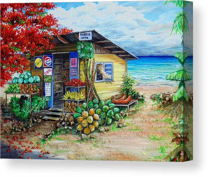 Beach Cafe Canvas Print featuring the painting Rosies Beach Cafe by Karin Dawn Kelshall- Best