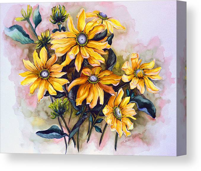 Flower Painting Sun Flower Painting Flower Botanical Painting  Original Watercolor Painting Rudebeckia Painting Floral Painting Yellow Painting Greeting Card Painting Canvas Print featuring the painting RUDBECKIA Prairie Sun by Karin Dawn Kelshall- Best
