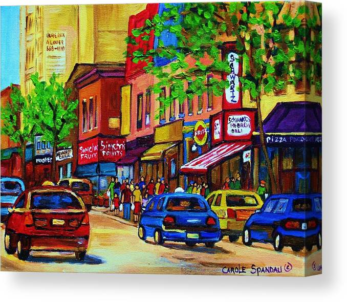 Cityscape Canvas Print featuring the painting Saint Lawrence Street by Carole Spandau