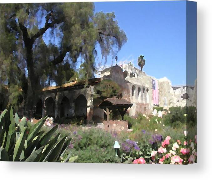 Mission Canvas Print featuring the photograph San Juan Mission by Arline Wagner