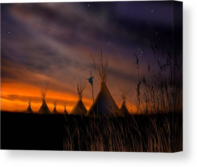 Native American Canvas Print featuring the painting Silent Teepees by Paul Sachtleben
