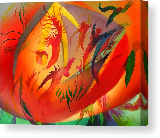 Abstract Canvas Print featuring the painting Spirit Dance in the Cave by Peter Shor