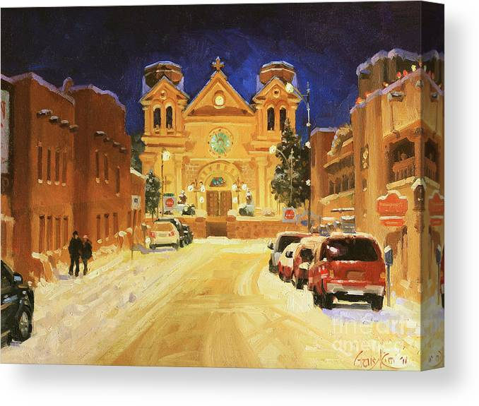 St. Francis Canvas Print featuring the painting St. Francis Cathedral Basilica by Gary Kim