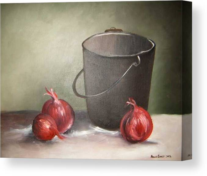 Bucket Canvas Print featuring the painting Still life onions by Nellie Visser