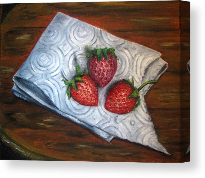 Strawberries Canvas Print featuring the painting Strawberries-3 contemporary oil painting by Natalja Picugina