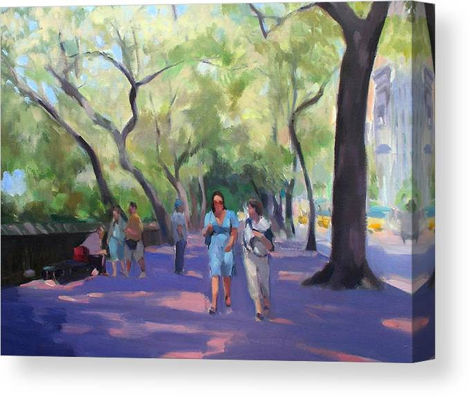 New York Canvas Print featuring the painting Strolling in Central Park by Merle Keller