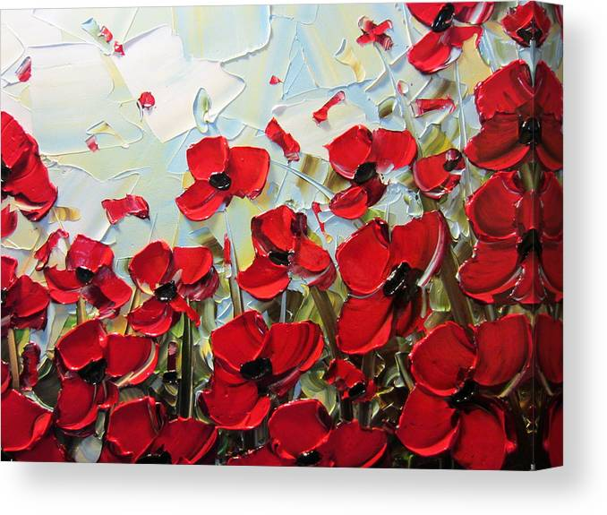 Red Poppy Canvas Print featuring the painting Summer Red Poppies by Christine Bell