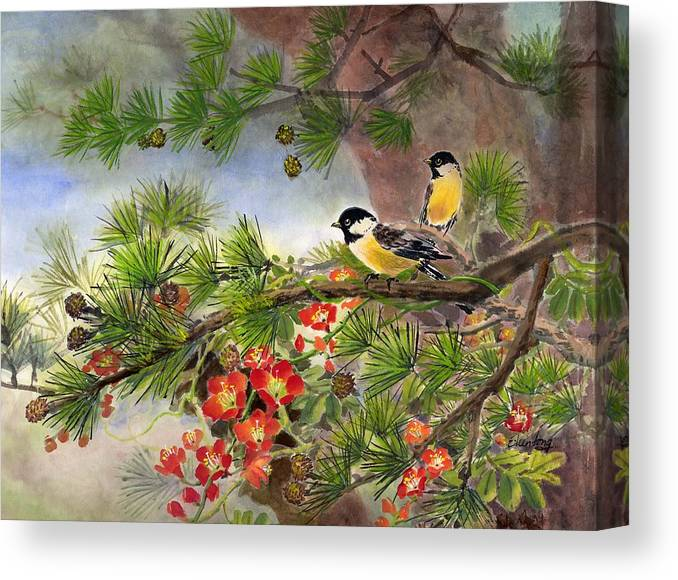 Chinese Trumpet Vine Canvas Print featuring the painting Summer Vine With Pine Tree by Eileen Fong