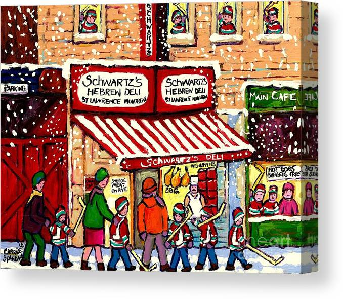 Montreal Canvas Print featuring the painting Sunday Lineup at the Deli by Carole Spandau