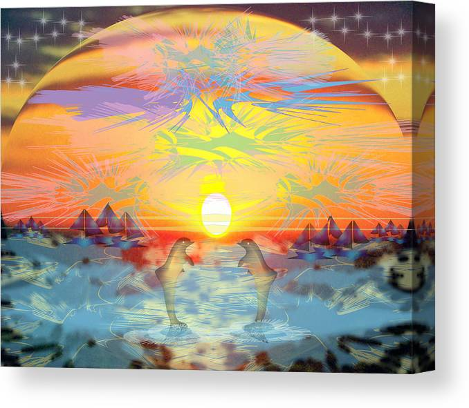Nature Canvas Print featuring the digital art Sunset III by George Pasini