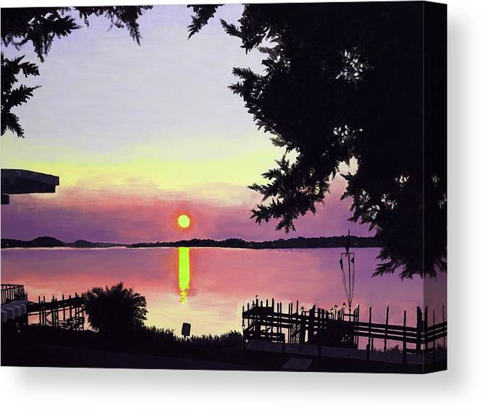 Sunset On Lake Canvas Print featuring the painting Sunset On Lake Dora by Judy Swerlick