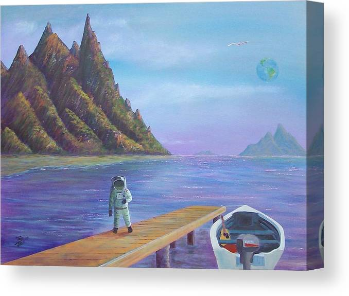 Seascapes Canvas Print featuring the painting Surreal Seascape by Tony Rodriguez