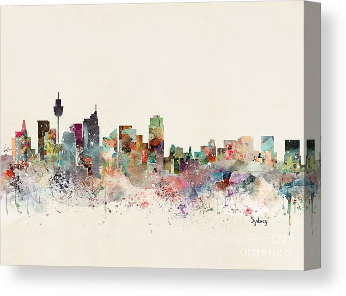 Sydney skyline Print Poster Watercolour Framed Canvas Wall Art city Australia