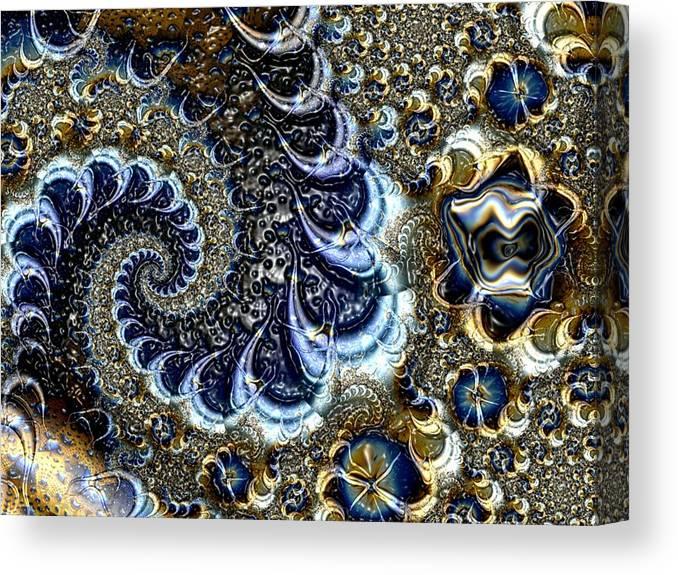 Fractal Diamonds Blue Jewel Dance River Canvas Print featuring the digital art The blue diamonds by Veronica Jackson