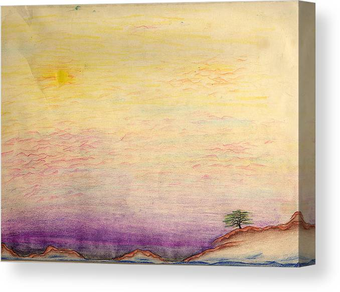Landscape Canvas Print featuring the drawing The Calm Waters Of Shallow Comfort by Nathaniel Hoffman