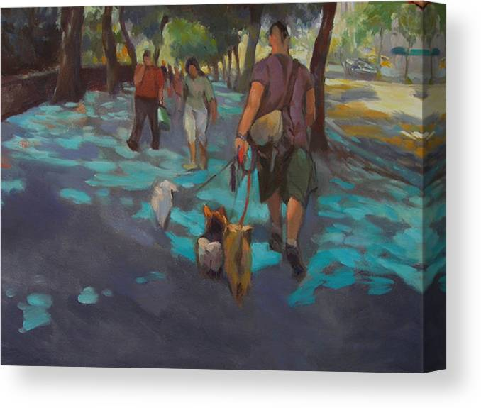 Dogs Canvas Print featuring the painting The Dog Walker by Merle Keller