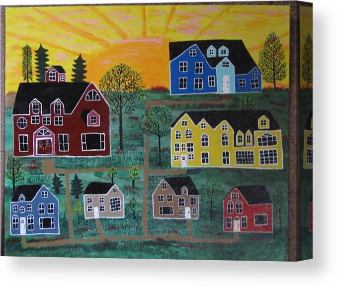 Sunshine Canvas Print featuring the painting The Pines at Altonshine Sky by Mike Filippello