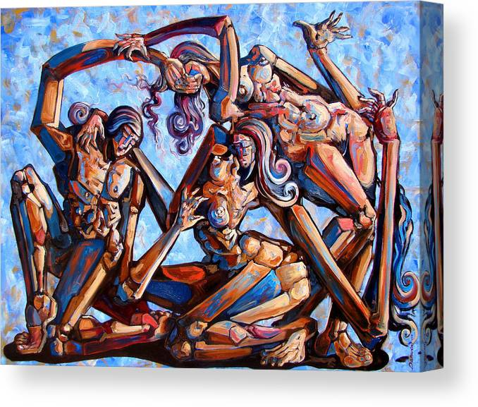 Surrealism Canvas Print featuring the painting The seduction of the muses by Darwin Leon