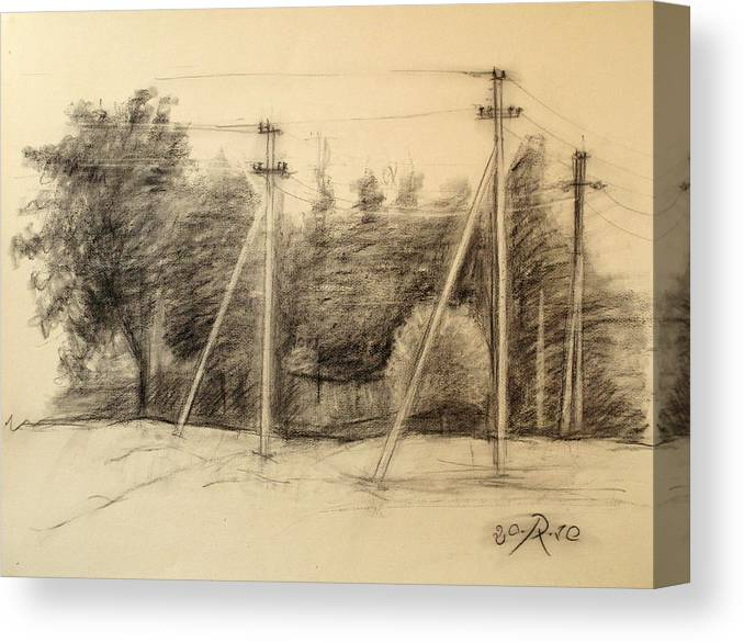 Drawing Canvas Print featuring the drawing The view of the village by Raimonda Jatkeviciute-Kasparaviciene