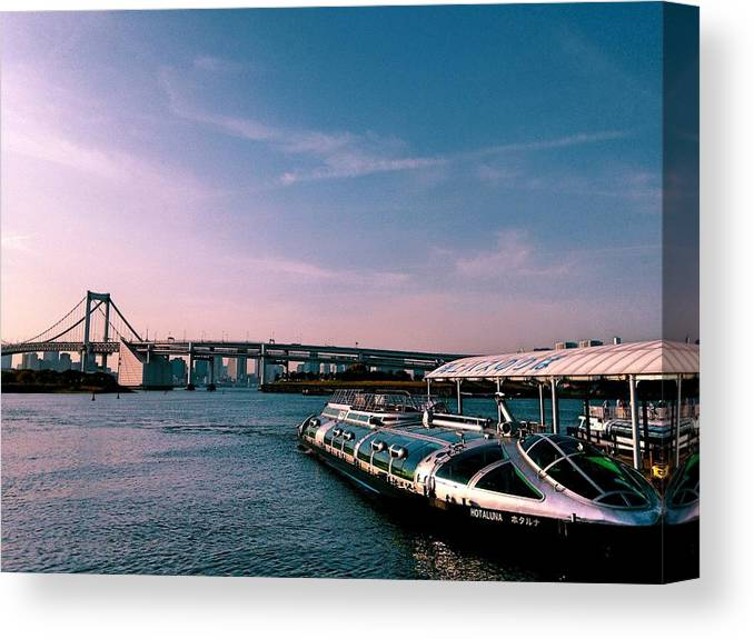 Landscape Canvas Print featuring the photograph To the space from sea by Momoko Sano