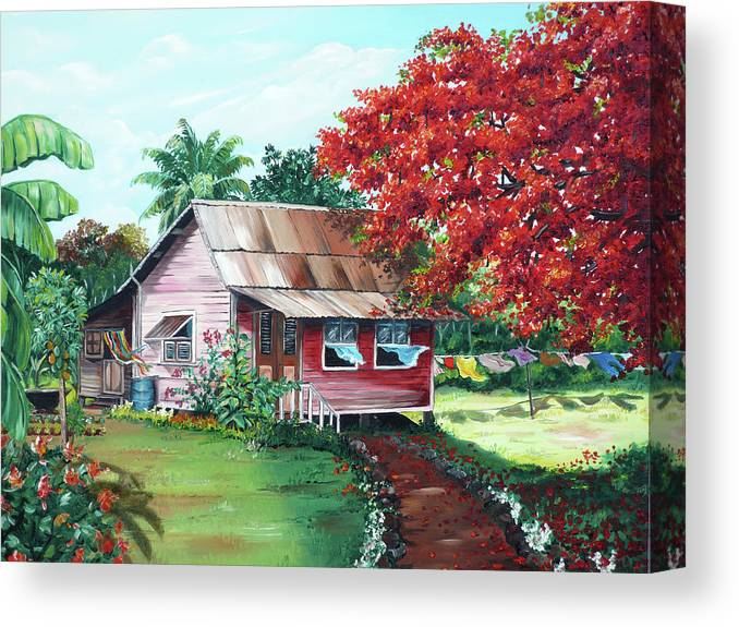 House Painting Canvas Print featuring the painting Tobago Country House by Karin Dawn Kelshall- Best