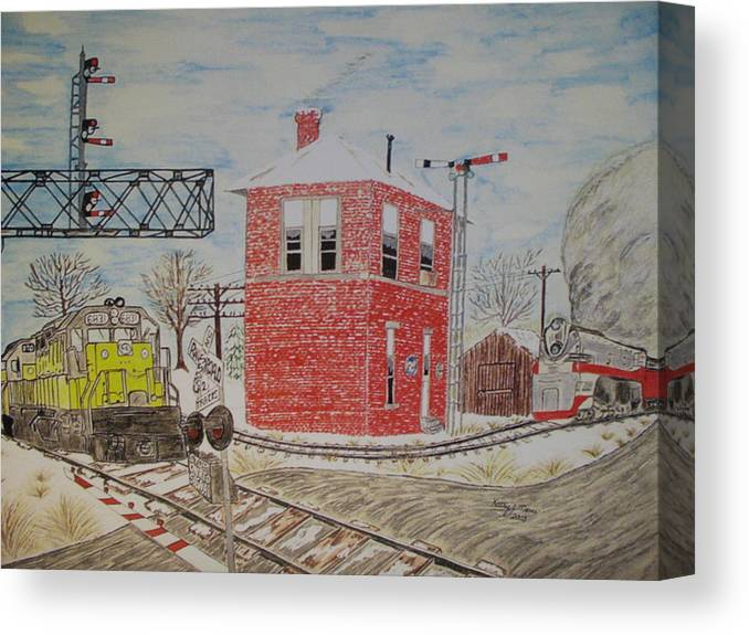 Train Canvas Print featuring the painting Trains In Motion by Kathy Marrs Chandler