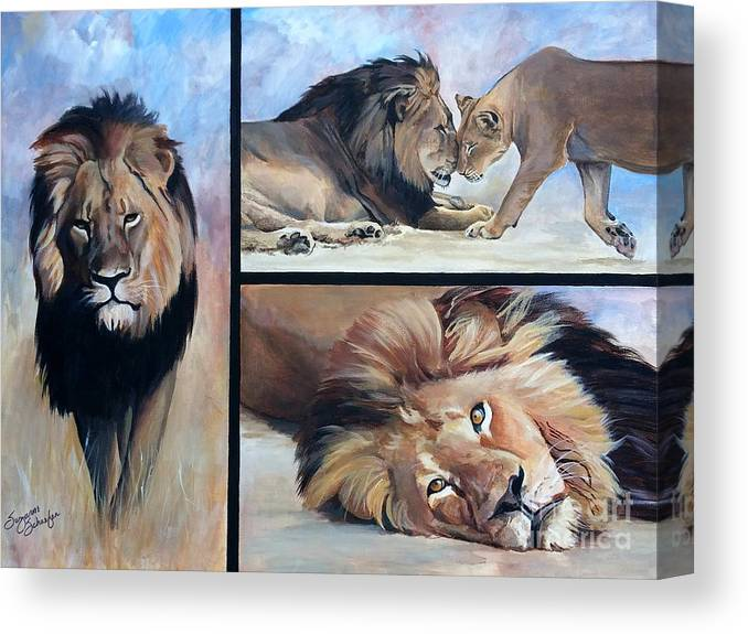 Cecil Canvas Print featuring the painting Tribute To Cecil The African Lion by Suzanne Schaefer